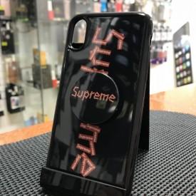 Husa de protectie Apple iPhone X, Supreme Negru-Rosu