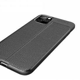 Husa pentru Apple iPhone 11, Perfect Fit Black cu insertii de piele
