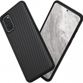 Husa pentru Samsung Galaxy S20, Perfect Fit, cu insertii de carbon, negru