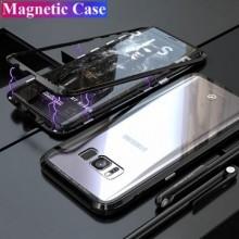 Husa Samsung Galaxy S7 Edge , Magnetica Negru, Perfect Fit cu spate de sticla securizata premium