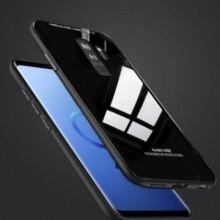 Husa Samsung Galaxy S9,Elegance Luxury Back Glass, husa cu sticla securizata pe spate de culoare neagra