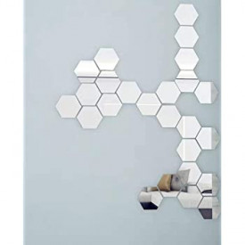 Oglinda Design Hexagon Silver - Oglinzi Decorative Acrilice Cristal - Diamant - Luxury Home - Diagonala 11.5 cm - 1 bucata
