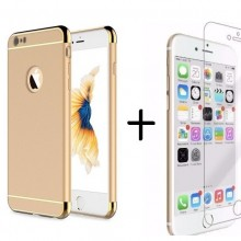Pachet husa Elegance Luxury 3in1 Gold pentru Apple iPhone 6 Plus / Apple iPhone 6S Plus cu folie de sticla gratis