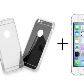 Pachet husa Elegance Luxury Tip Oglinda Silver pentru Apple iPhone 5 / Apple iPhone 5S / Apple iPhone 5SE cu folie de sticla gratis !