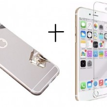 Pachet husa Elegance Luxury Tip Oglinda Silver pentru Apple iPhone 7 cu folie de sticla gratis !