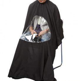 Pelerina de Tuns Profesionala cu Fereastra Transparenta pentru Telefon Mobil, Neagra