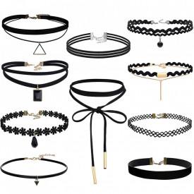 Set 10 coliere pentru gat tip Choker Fashion Black