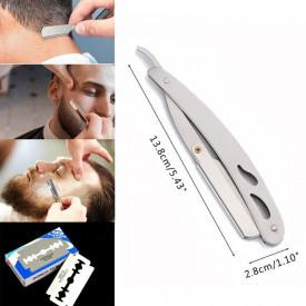 Set Brici profesional pentru barbierit si ras capilar, brici din otel inoxidabil + lama de rezerva