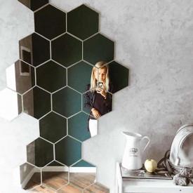 Set Oglinzi Design Hexagon - Oglinzi Decorative Acrilice Silver 29 buc