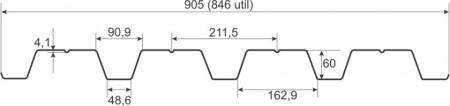 Tabla cutata, W60, latime 905 mm, 0.5 mm MAT