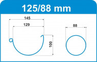 Capac pentru jgheab WTB, D 125 mm