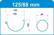 Jgheab de scurgere metalic semicircular, D 125 mm, WTB, 4 m
