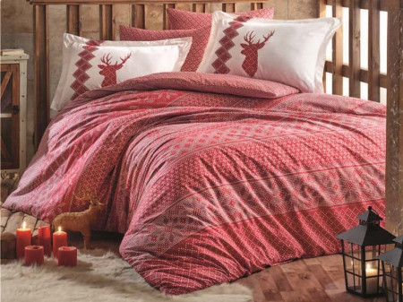 Lenjerie Pat 2 Persoane Hooby Clarinda -Red COD:1007