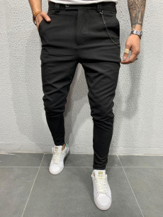PANTALONI SLIM FIT ZIPPER BLACK COD : BGAS310