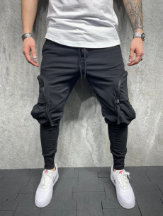 PANTALONI ELASTIC BIG POCKET BLACK COD : BGAS582(5254)