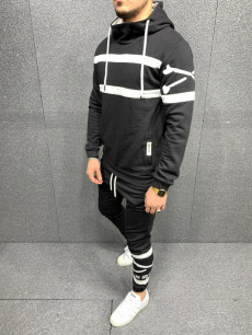 TRENING SLIM FIT STRIPED BLACK COD : TRAS48