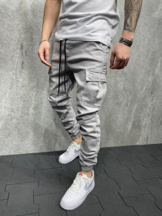 PANTALONI SLIM BUZUNARE LIGHT GREY COD : BGAS549(ES8047)