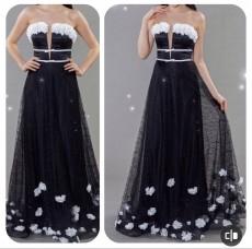 Rochie de seara lunga cu aplicatii florale COD: RS08
