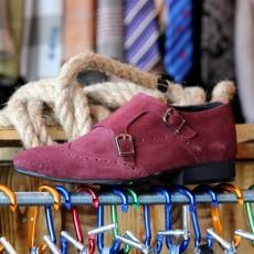 Pantofi din PIELE Naturala Intoarsa 100% cod: 120BORDO
