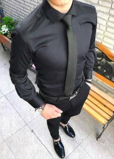 Camasa Barbati Neagra Cu Nasturi Ascunsi COD: CB87