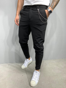 PANTALONI SLIM FIT ZIPPER BLACK 2 COD : BGAS518