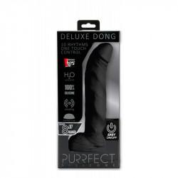 Dildo cu Ventuza si Vibratii Deluxe Dong Purrfect Silicone 20 cm Negru