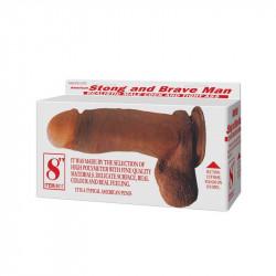Dildo cu Ventuza si Vibratii Strong and Brave Man 20 cm