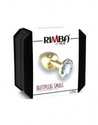 Dop Anal Metalic Rimba Gold Small cu Cristal Alb