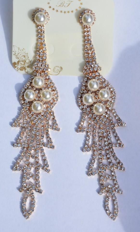 Cercei aurii in tendinte cu decor de perle si pietre for Perle decoration