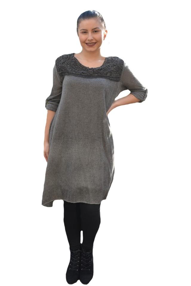 calitate superioară reducere mare site autorizat Rochie casual Leylla din tricot cu insertii de broderie ,nuanta de gri