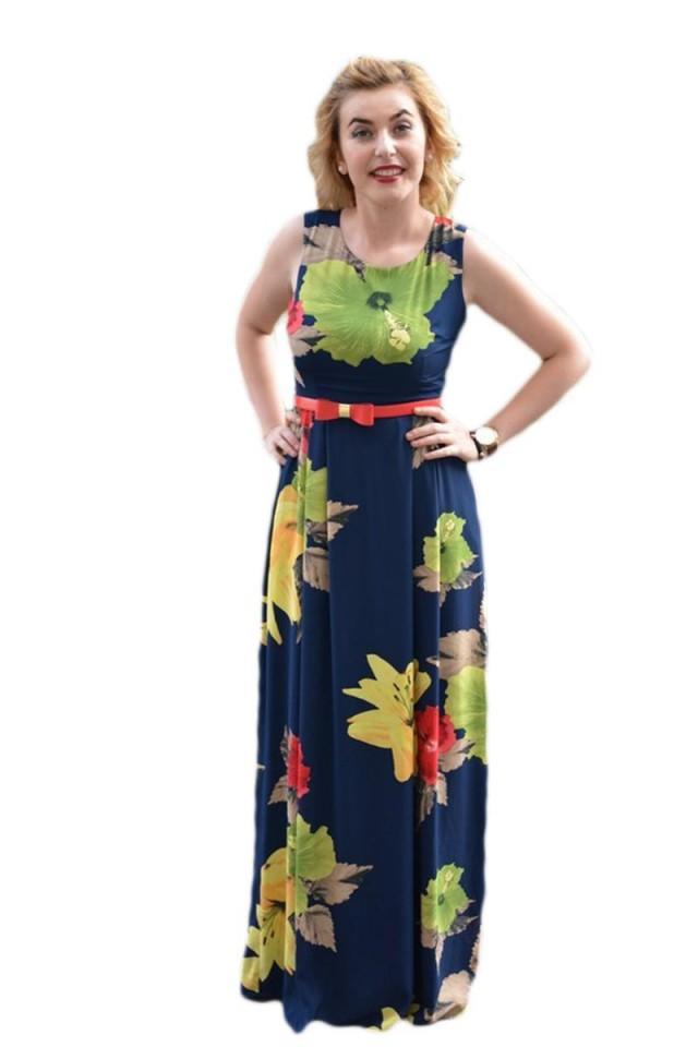de unde să cumperi pantofi de toamnă pantofi de temperament Rochie comoda de vara, model lung, bleumarin cu flori colorate