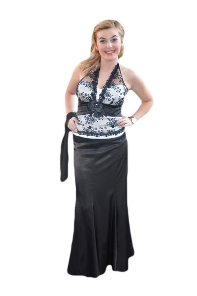 ridica jumatate din super ieftin Rochie rafinata ,neagra ,cu corset alb infasurat in dantela neagra
