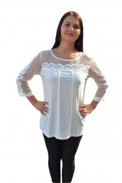 Poze Bluza alba de ocazie, cu maneca aproape lunga, transparenta