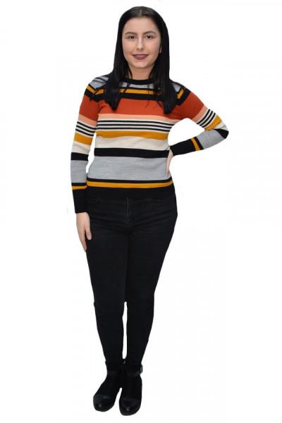 Poze Bluza casual Vera ,model cu dungi multicolore,gri