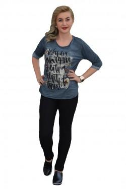 Bluza chic, nuanta de bleumarin, cu design grafic deosebit