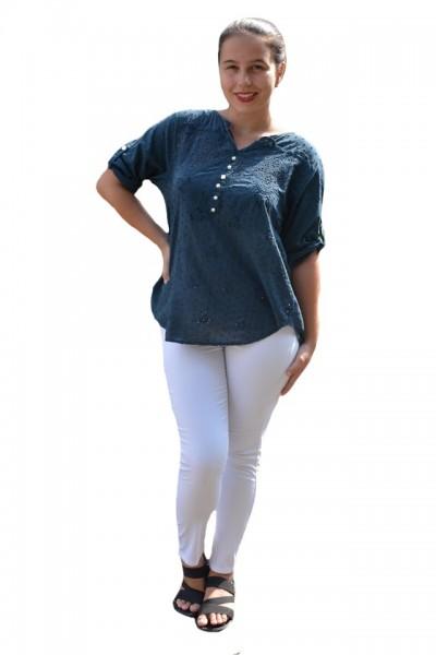 Poze Bluza de vara tip camasa Jeniffer ,model cu broderie si paiete ,nuanta de bleumarin