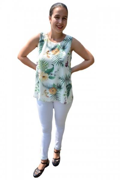 Poze Bluza de vara tip maiou,Florice, imprimeu exotic-flower, nuanta de alb