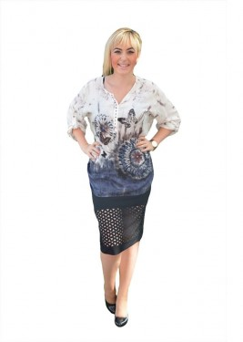 Bluza deosebita masura mare, cu imprimeu cu fluturi bleumarin