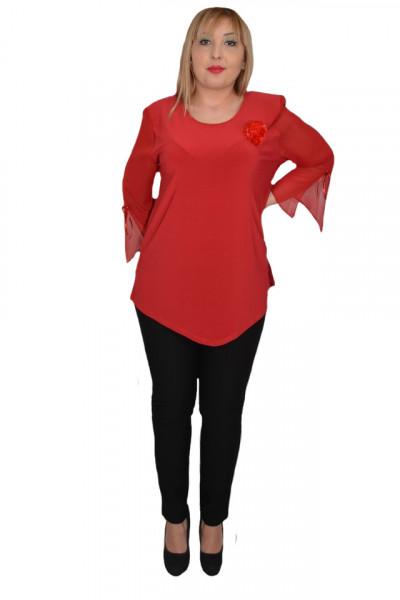 Poze Bluza eleganta ,croi lejer,accesorizata cu brosa tip floara,rosu