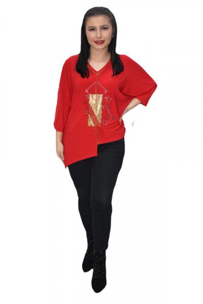 Poze Bluza eleganta Uma cu insertii de strasuri ,nuanta de rosu