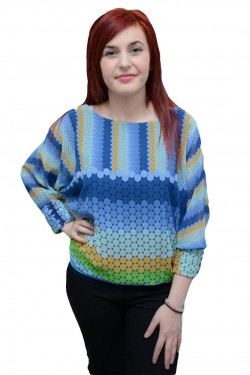 Bluza moderna cu croi lejer, maneci largi, cu imprimeu multicolor