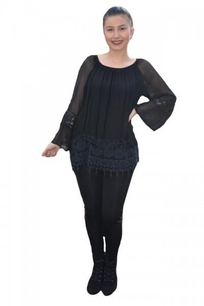 Poze Bluza moderna Kara cu insertii de broderie si dantela ,nuanta de negru