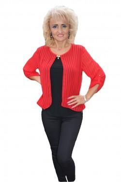 Poze Bluza moderna, rosie, cu dungi verticale si lungime asimetrica