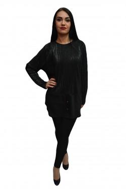 Poze Bluza rafinata de culoare neagra cu fir argintiu, model elegant