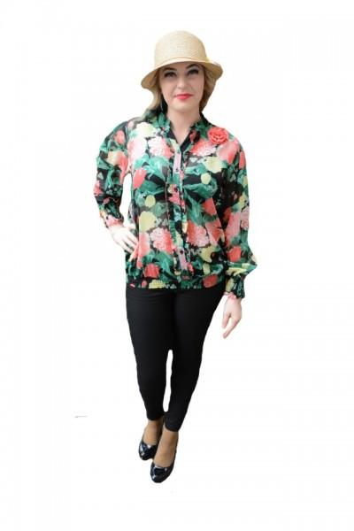 Poze Bluza tinereasca de vara, primavara, neagra cu flori multicolor
