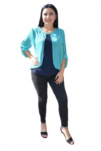 Poze Bluza tinereasca in nuante de albastru cu design de dungi subtiri