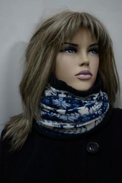 Caciula de iarna din material textil calduros, nuanta bleumarin-alb
