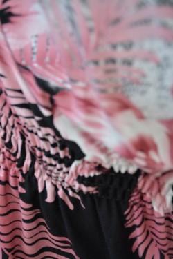 Camasa dama, din bumbac, negru-pudra, cu elastic lejer in talie