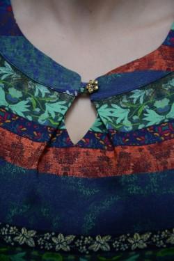 Camasa trendy cu guler mic rotund si maneca lunga, multicolor