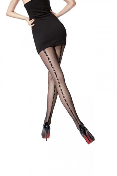 Ciorap modern, negru, cu design de dunga verticala in spate